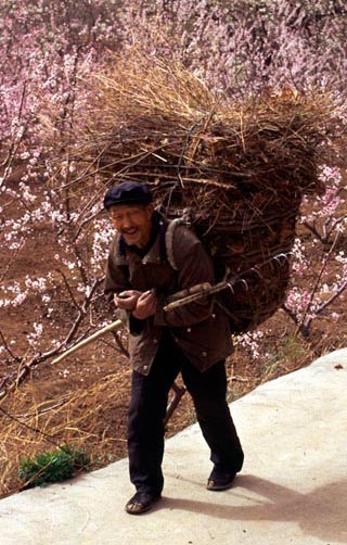 Old Chinese man carries a backpack basket