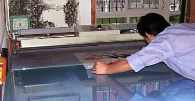 Pressing raw xuan paper art