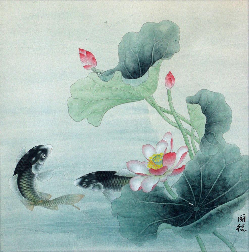 Koi fish and flower painting asian art bargain bin for Chinese art koi fish