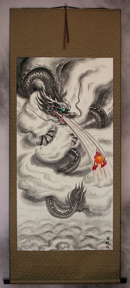 Flying Chinese Dragon Lightning Pearl - Asian Wall Scroll ...