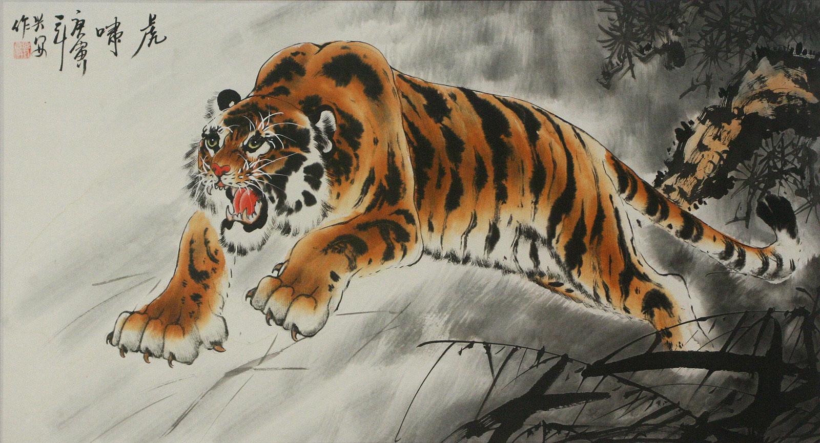 Ancient chinese tiger drawing - photo#27