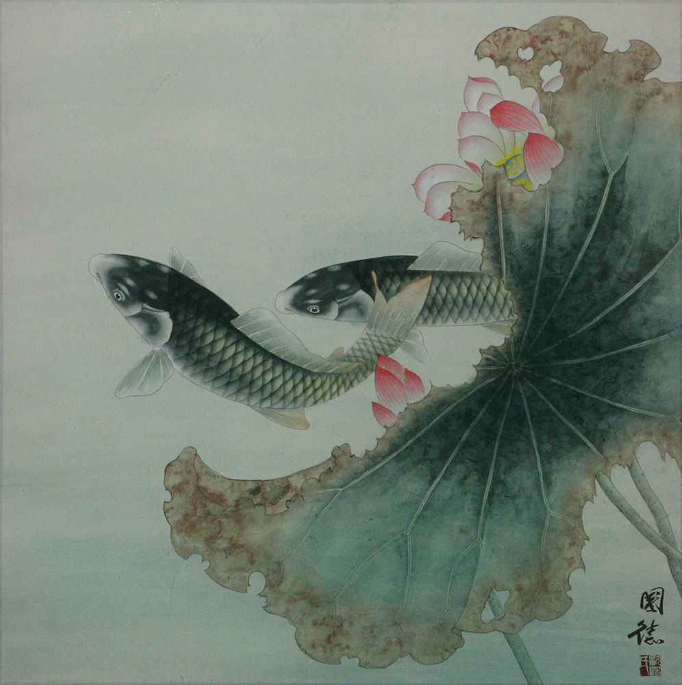 Koi fish and lotus flower sophisticated chinese painting for Koi fish japanese art