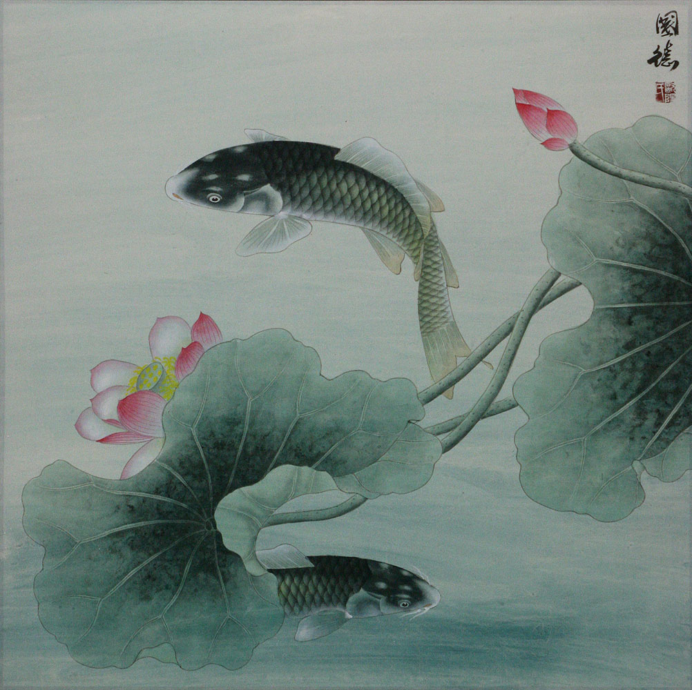 Koi fish and lotus flower subdued chinese painting asian koi fish paintings wall scrolls for Chinese coy fish