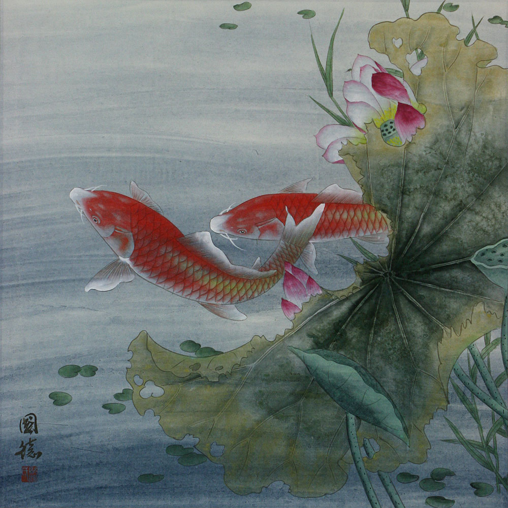 Koi fish and lotus flower asian art painting asian koi for Koi fish japanese art