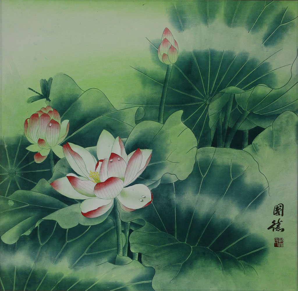 Chinese lotus flower painting birds flowers wall scrolls see huge image of this painting izmirmasajfo