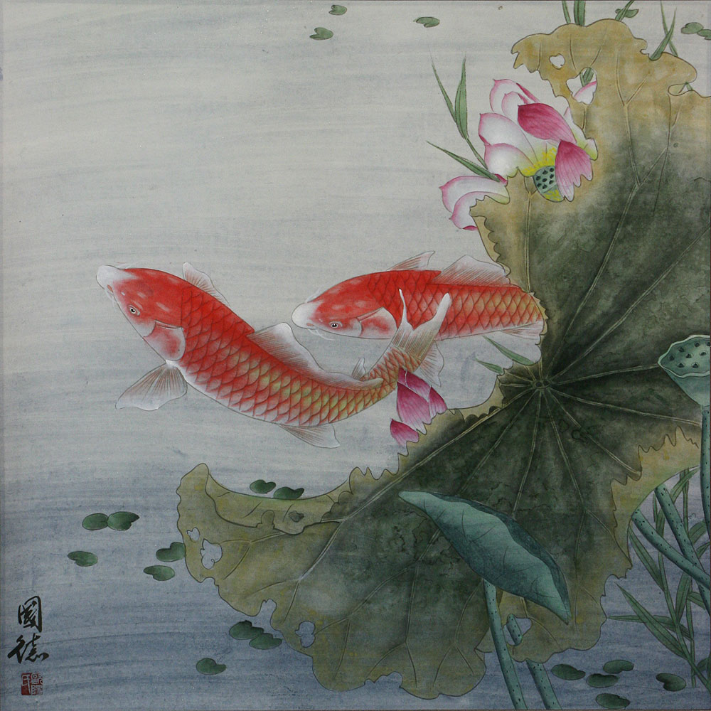 Koi fish and lotus flower gorgeous chinese painting for Koi fish japanese art