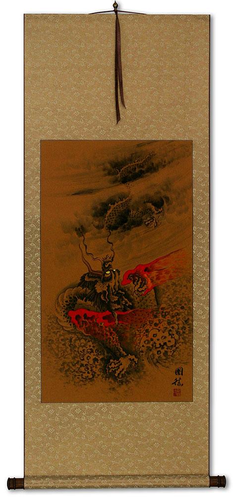 Fierce Chinese Dragon Asian Wall Scroll Tigers