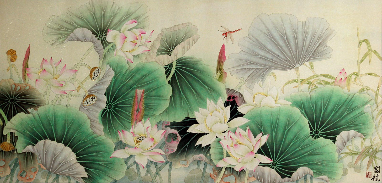 Lotus, Bamboo and Dragonfly - Beautiful Flowers Painting - Birds & Flowers Wall Scrolls ...