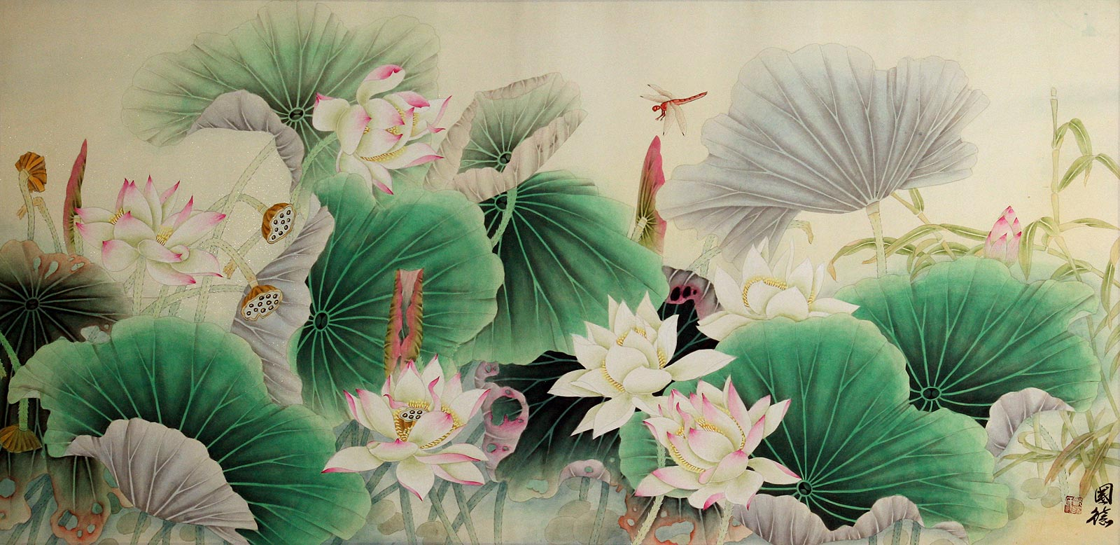 Lotus bamboo and dragonfly beautiful flowers painting birds see huge image of this painting izmirmasajfo