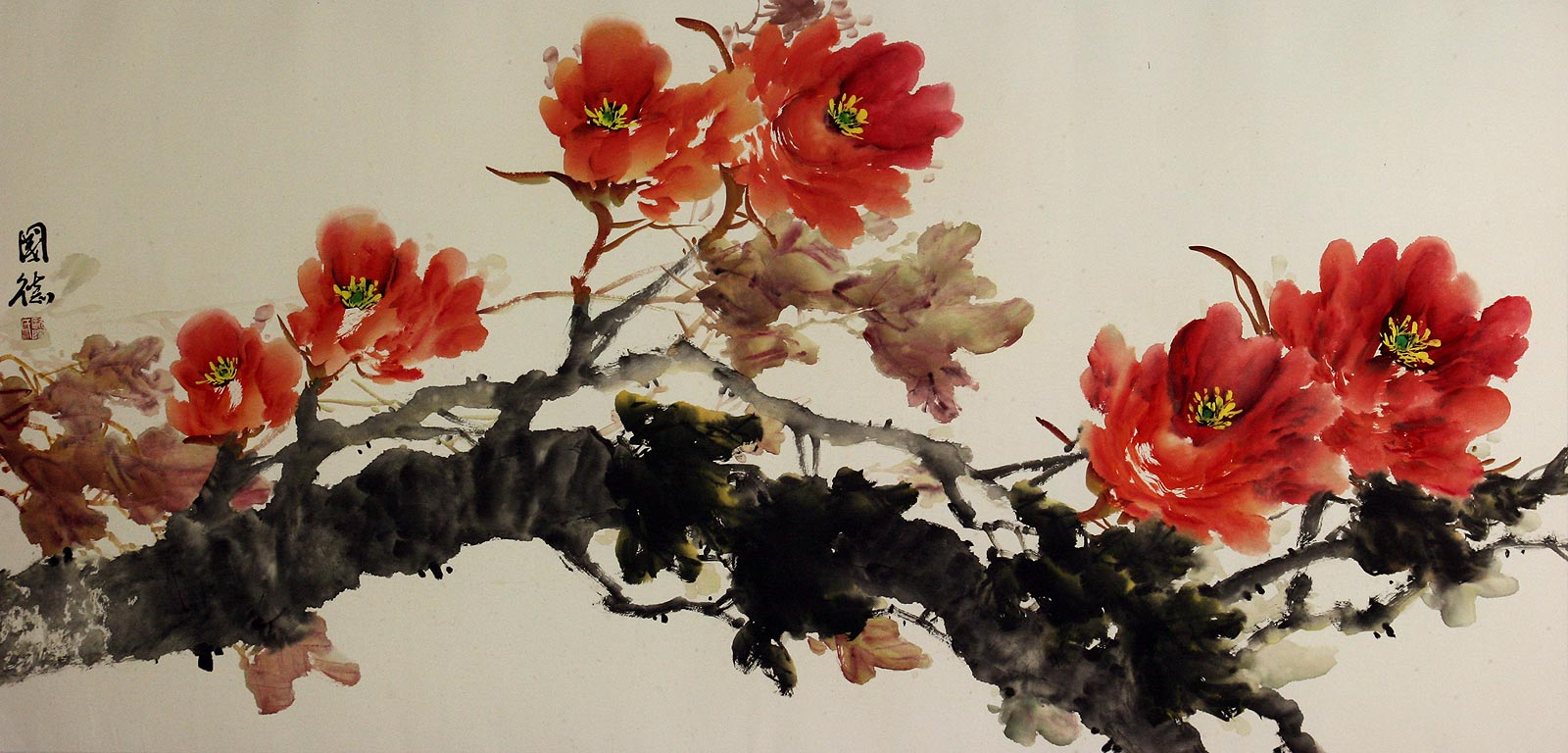 large chinese peony flowers painting birds u0026 flowers wall