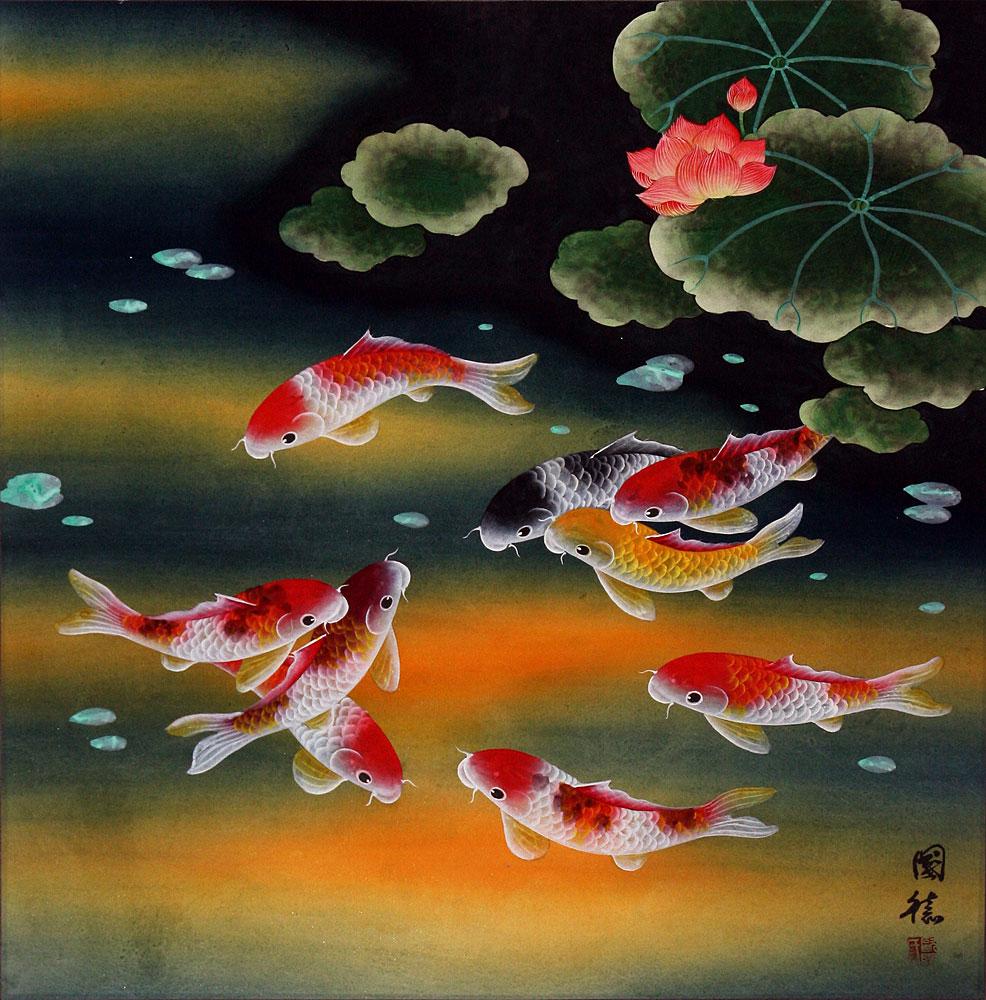 Nine koi fish and lotus flowers asian painting asian for Asian koi fish art