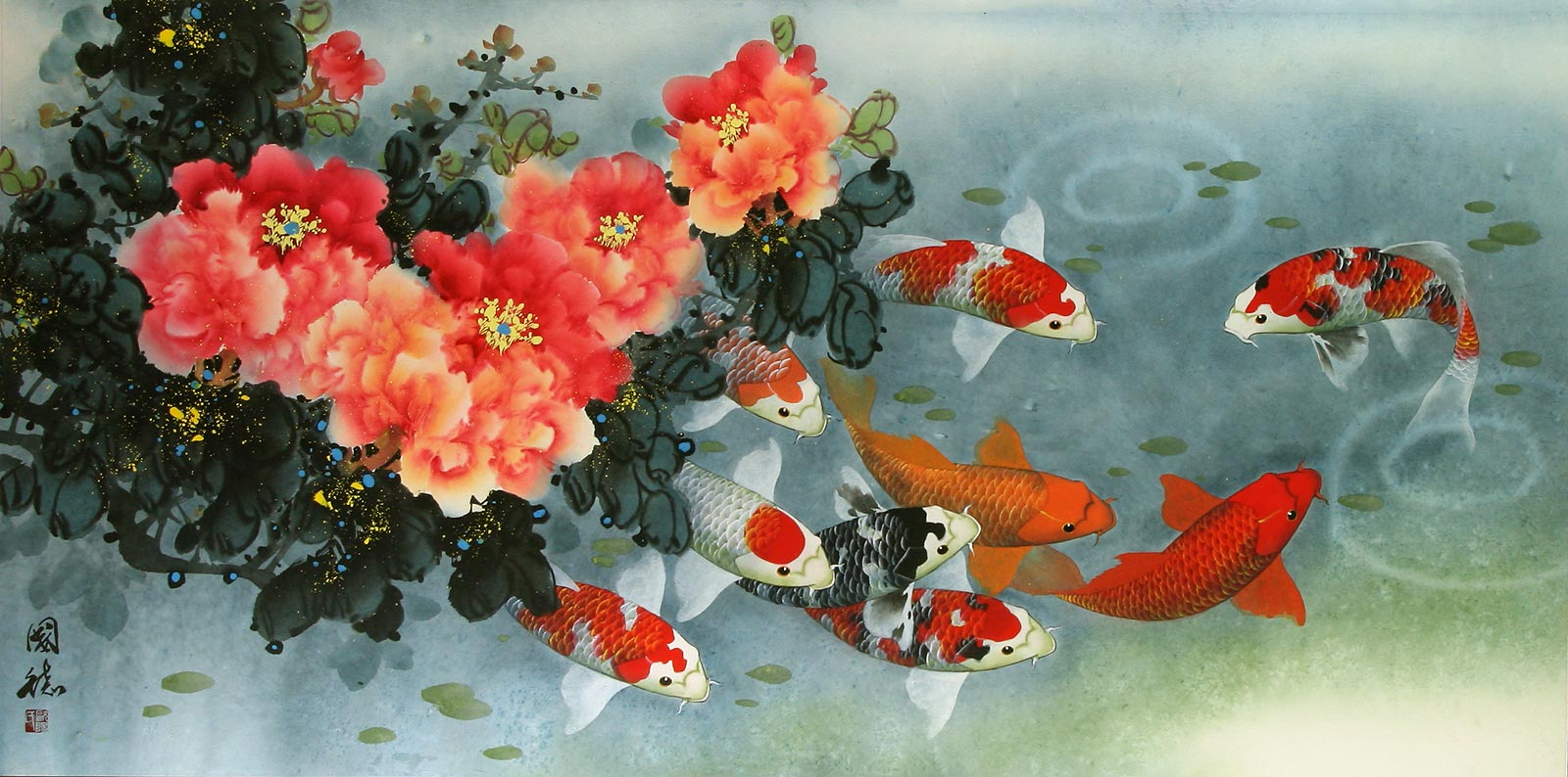 Koi fish and peony painting asian koi fish paintings for Chinese koi fish painting
