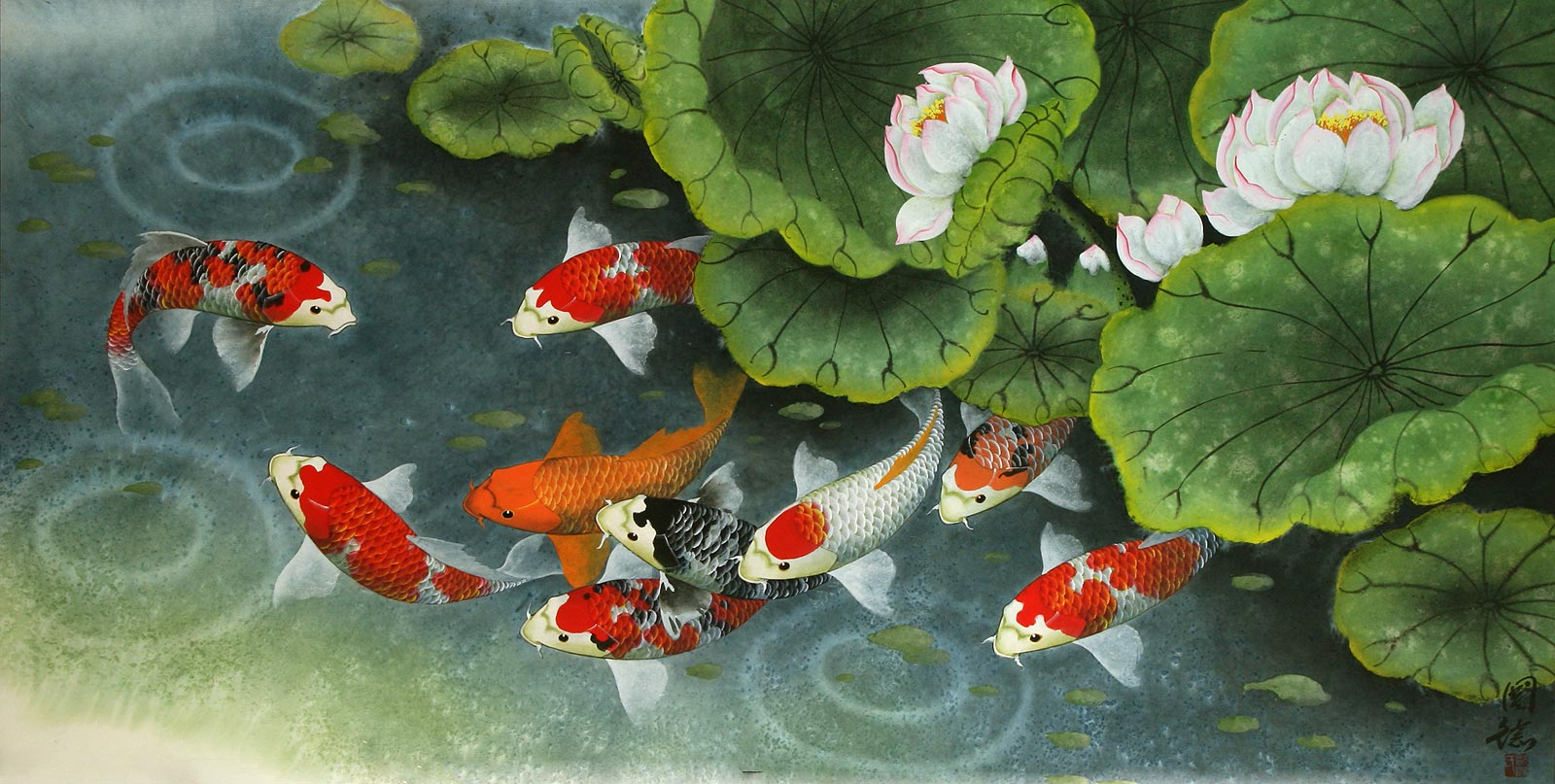 Koi fish and lillies feeding time painting asian koi fish paintings wall scrolls chinese art for Chinese coy fish