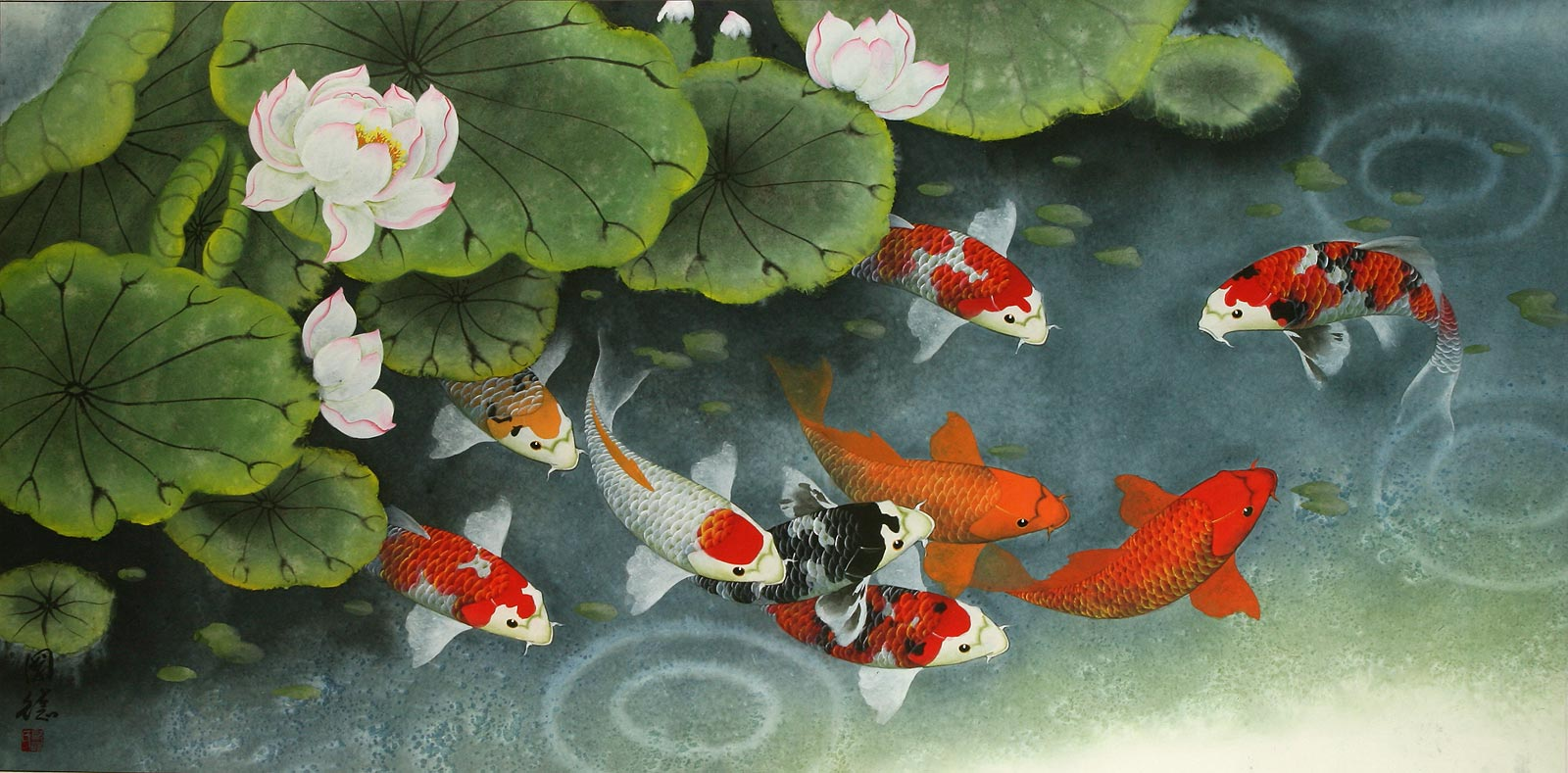 Koi fish feeding time painting asian koi fish paintings wall scrolls chinese art for Chinese coy fish