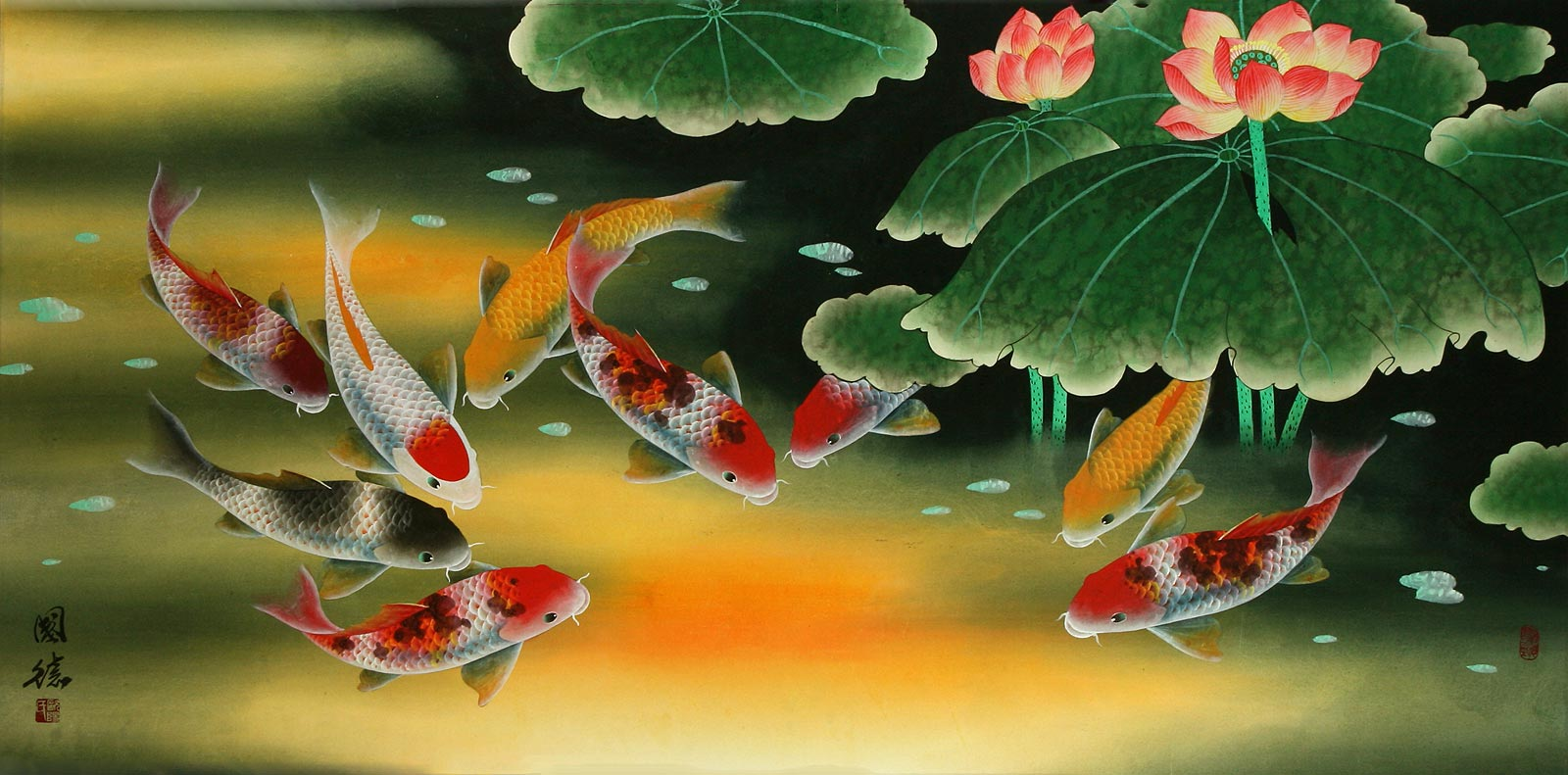 Huge koi fish and lily painting asian koi fish paintings for Chinese koi fish painting