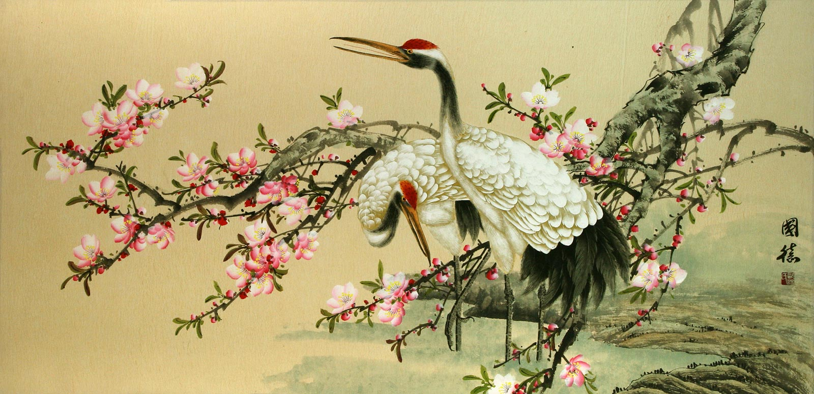 Asian Red Flower Painting