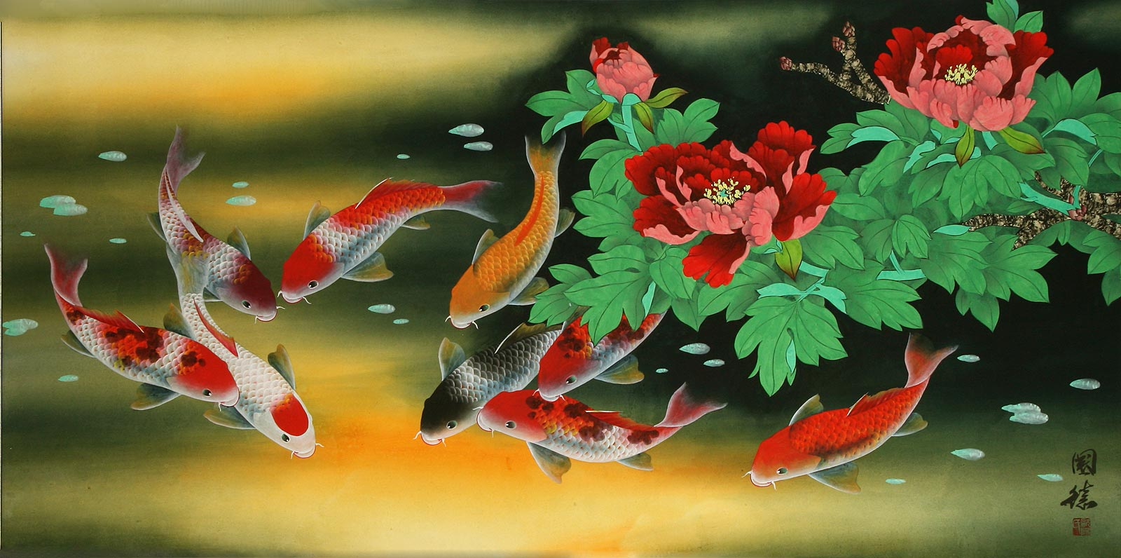 Huge koi fish and peony flower painting asian koi fish for Chinese koi fish painting