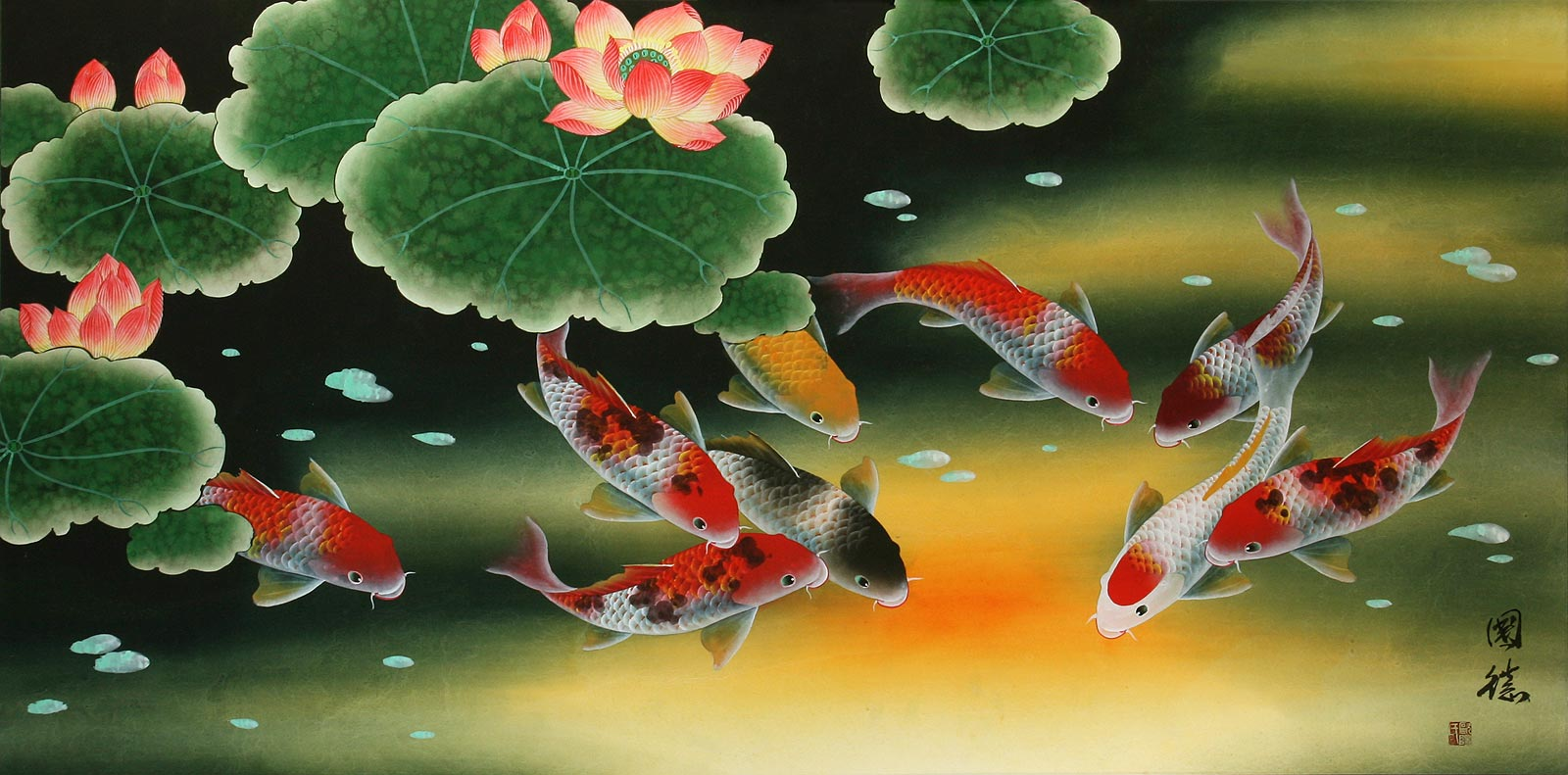 Huge koi fish and lily elaborate painting asian koi fish for Chinese koi fish painting