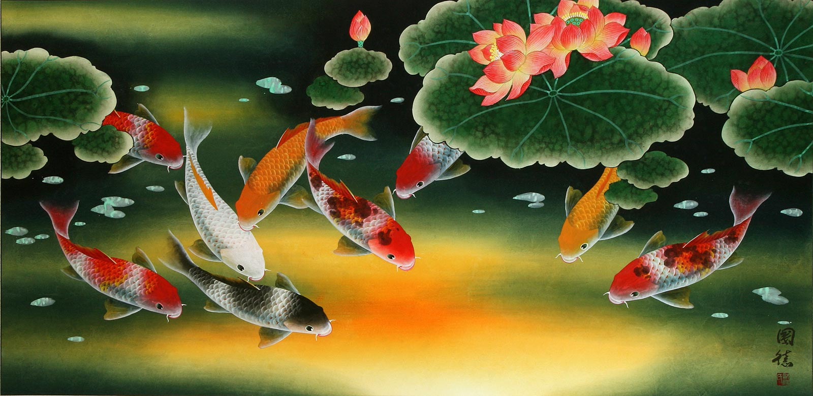 Huge Koi Fish and Lily Chinese Art Painting - Asian Koi Fish ...