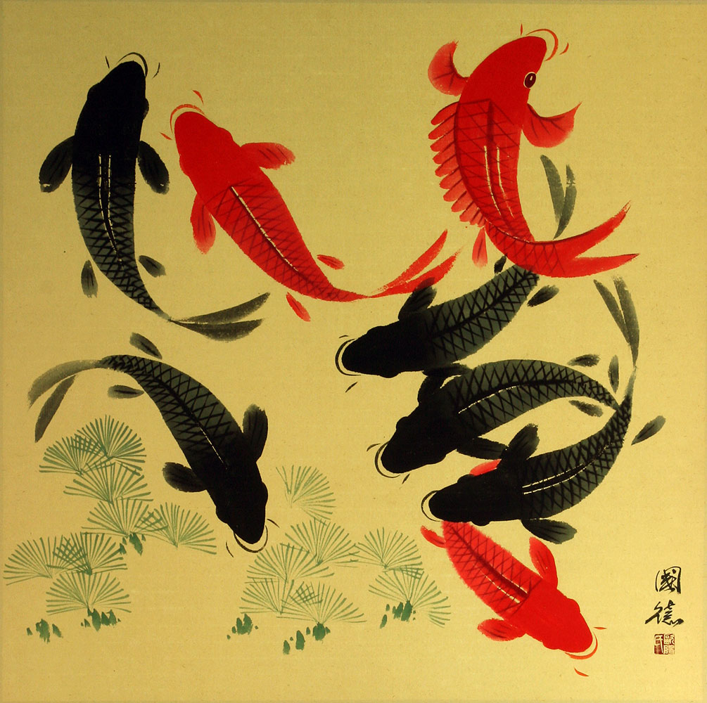 Large koi fish painting on antiqued paper asian koi fish for Large koi fish