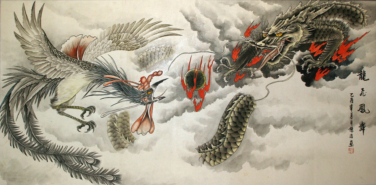 Huge Dragon and Phoenix Painting - Tigers & Dragons ...