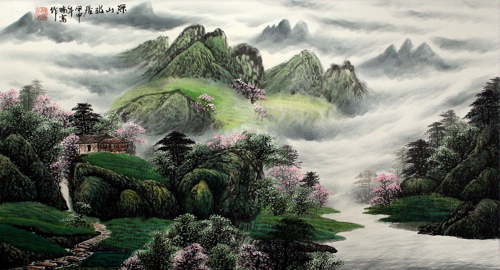 Chinese Riverside Village Home Landscape Painting