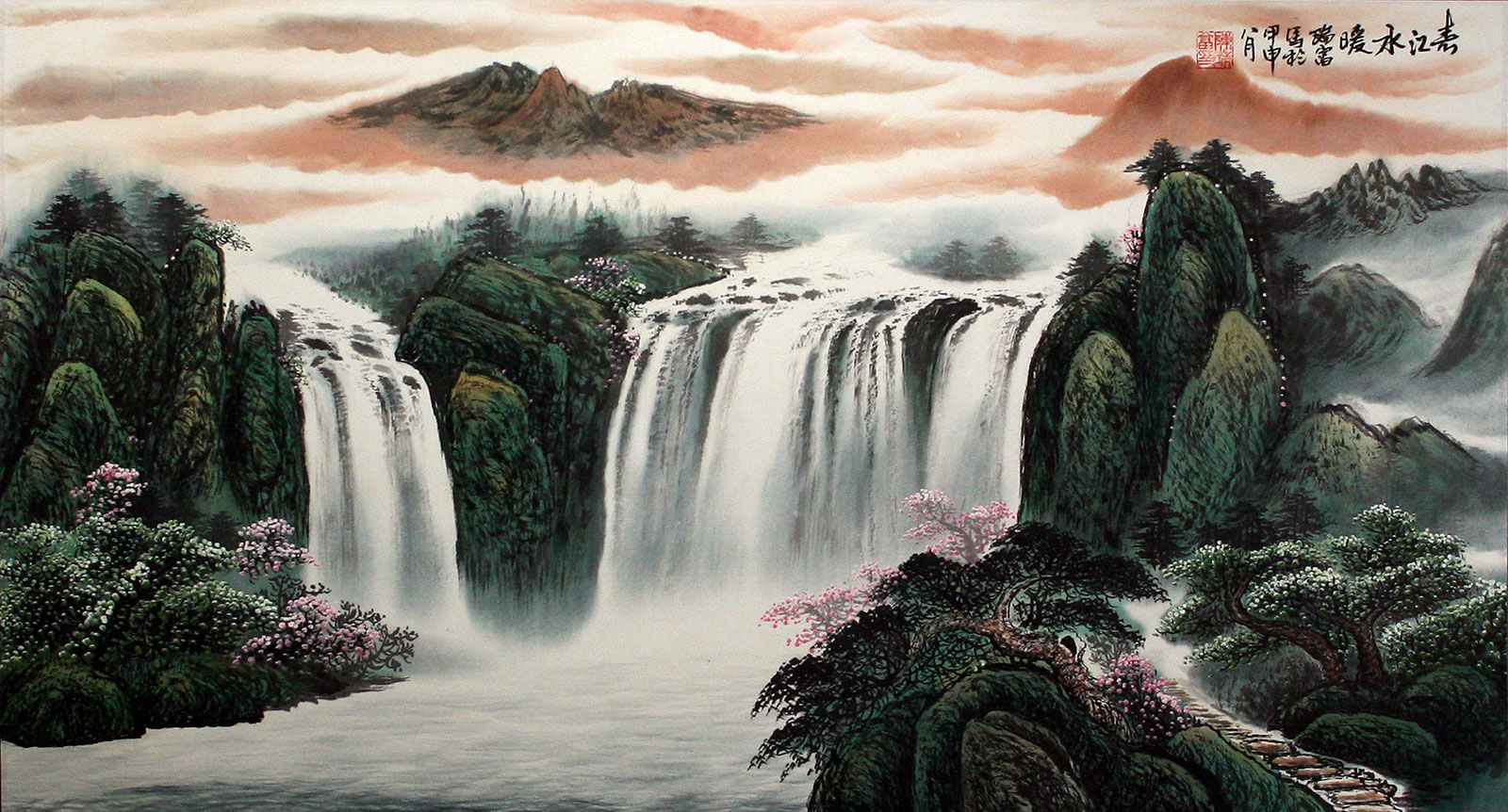 Chinese waterfall landscape painting landscapes of asia for Chinese mural art