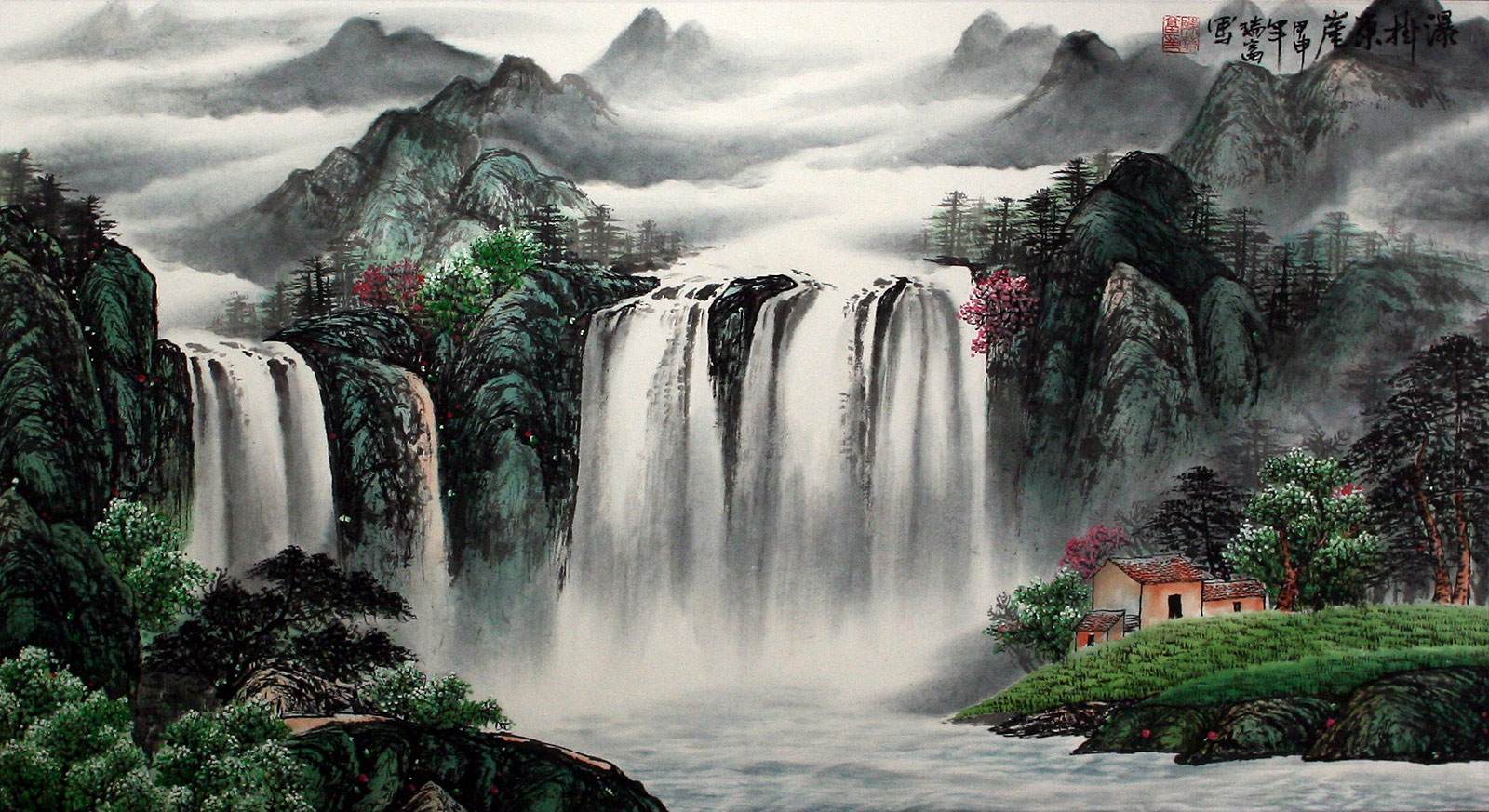 Waterfall Hanging On The East Cliff Large Landscape