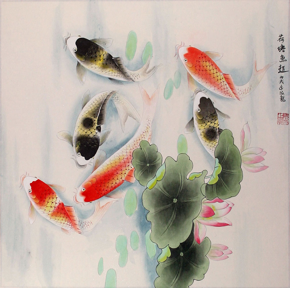 Koi fish having fun in the lotus pond painting asian koi fish paintings wall scrolls for Chinese coy fish