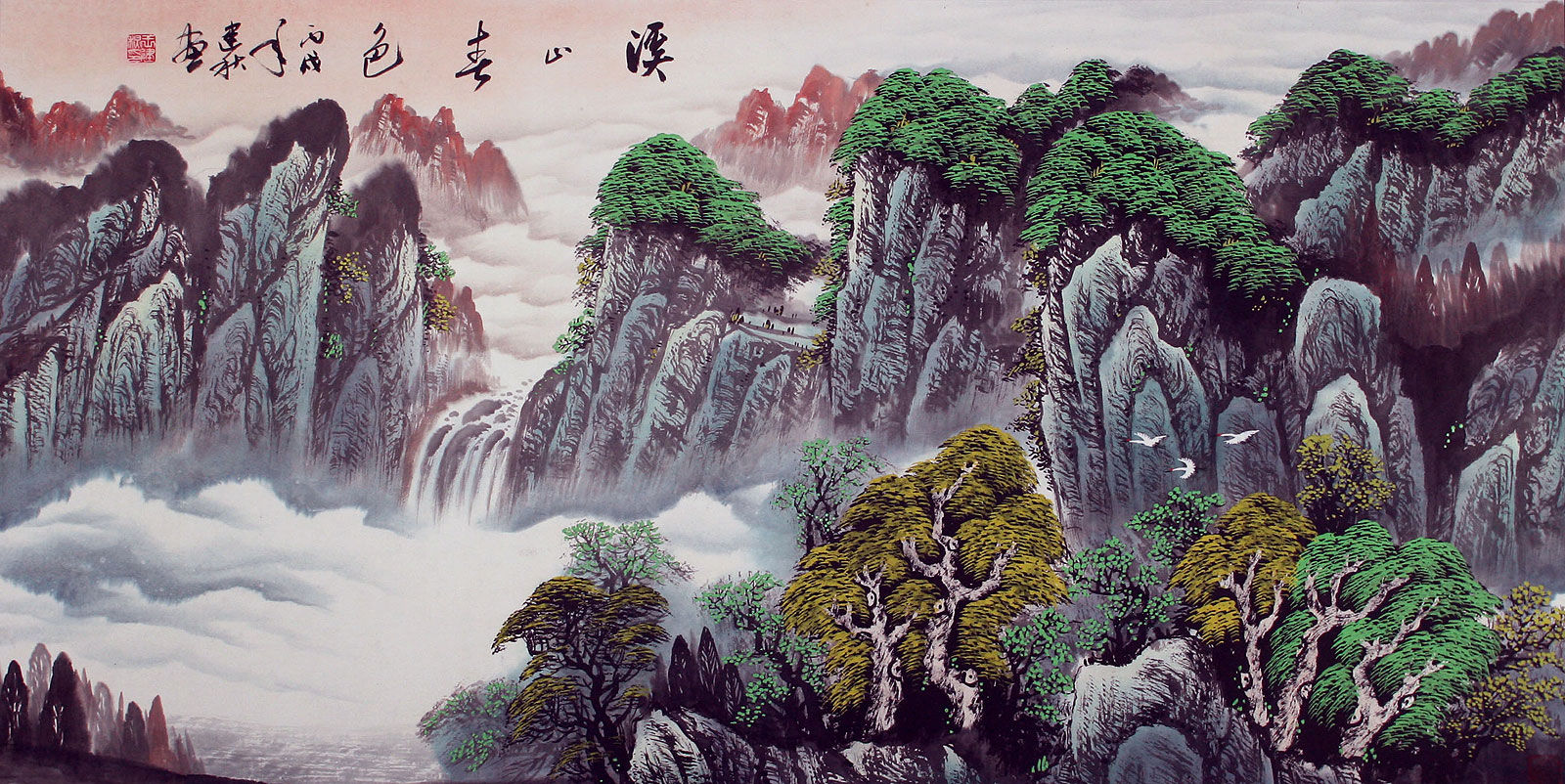 Creek mountains spring color asian art landscape for Chinese mural art