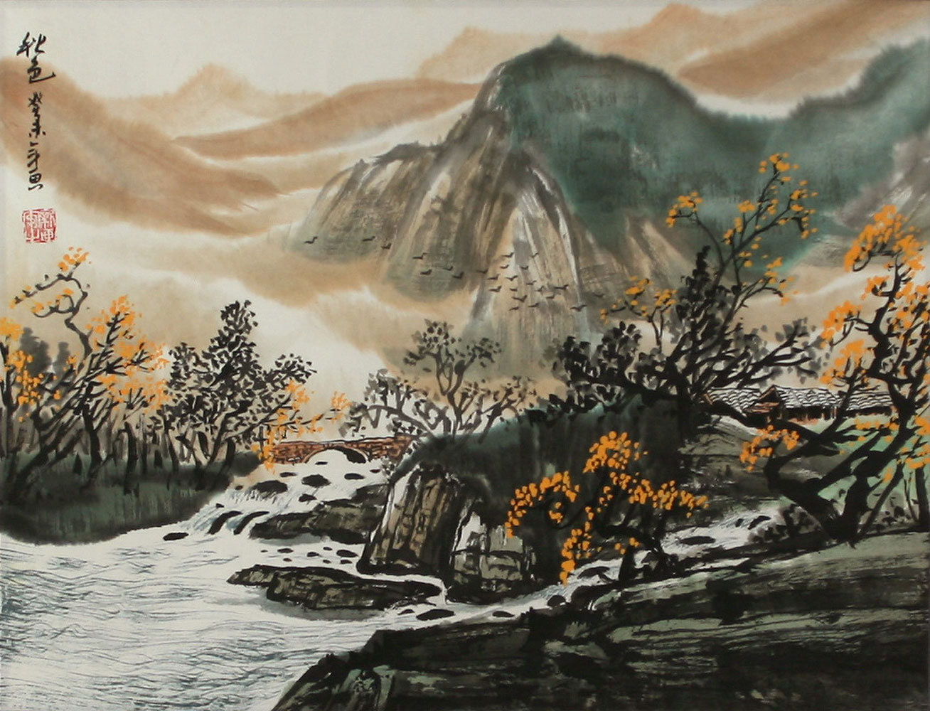 Chinese autumn landscape painting landscapes of asia for Chinese mural art
