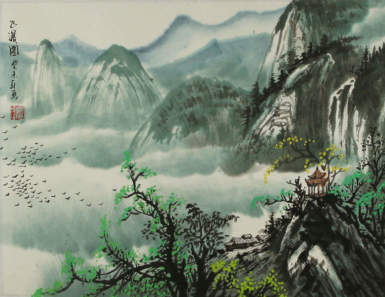 Chinese mountain pagoda landscape painting landscapes of for Chinese mural art