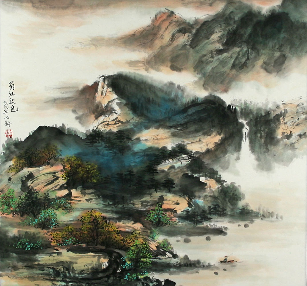 sichuan river in autumn chinese landscape painting