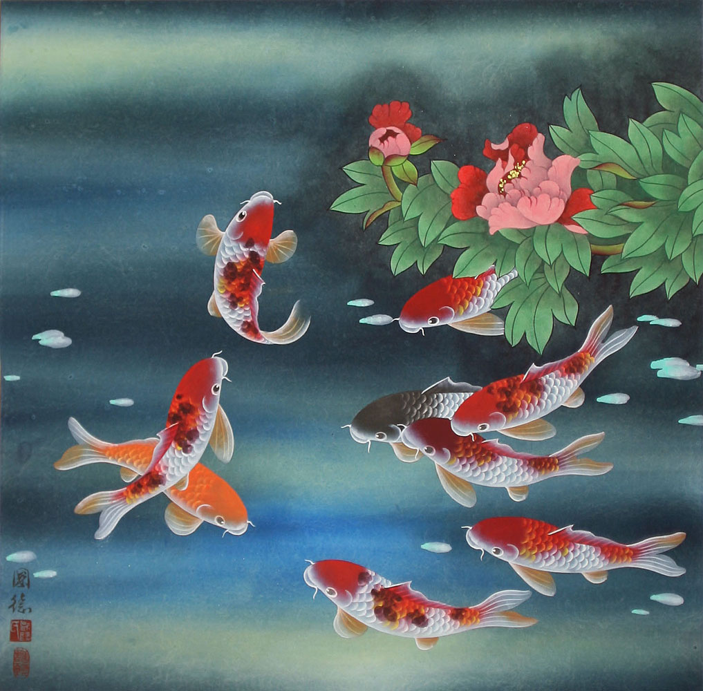 Nine koi fish and flowers asian painting asian koi fish for Japanese koi fish artwork