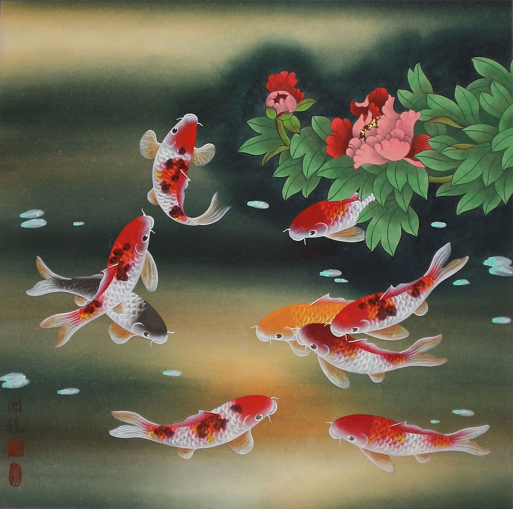 Nine koi fish and flowers chinese painting asian koi fish paintings wall scrolls chinese art for Chinese coy fish