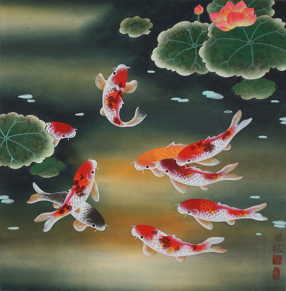 Nine koi fish and lotus flowers asian painting asian koi fish paintings wall scrolls for Chinese coy fish