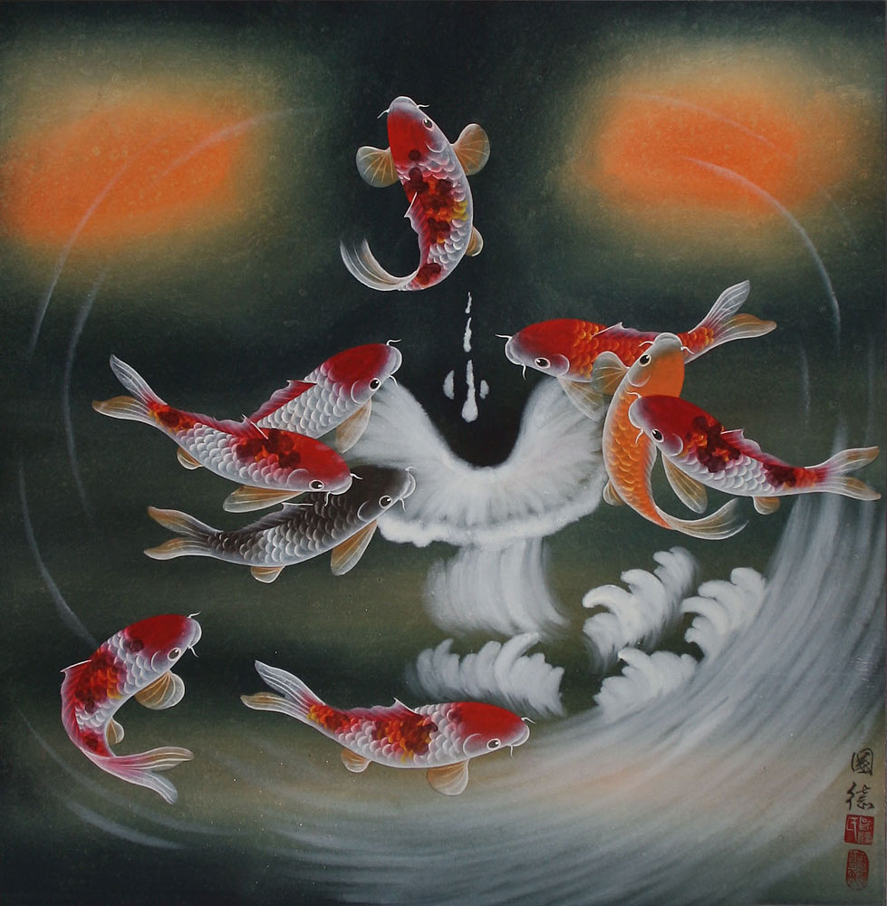 Nine koi fish masterpiece chinese painting asian koi for Japanese fish painting
