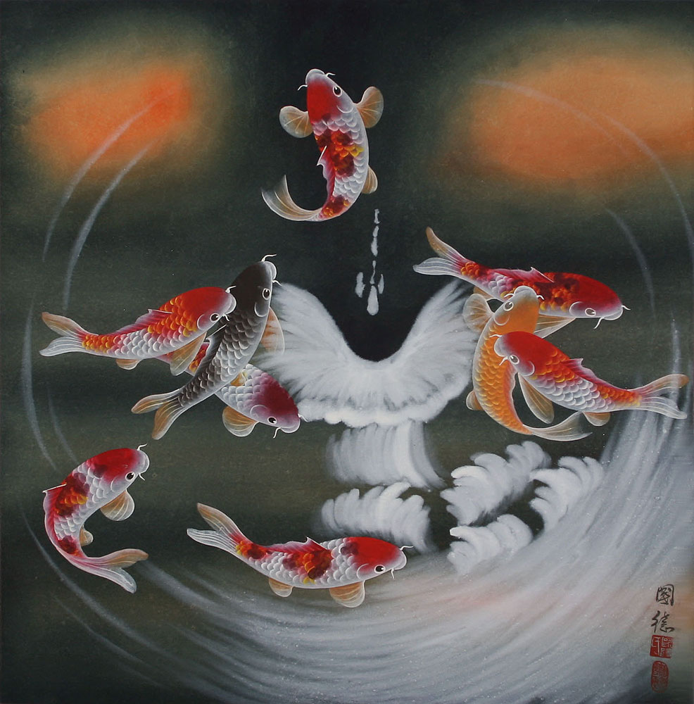 Nine koi fish masterpiece painting colorful cranes for Chinese art koi fish