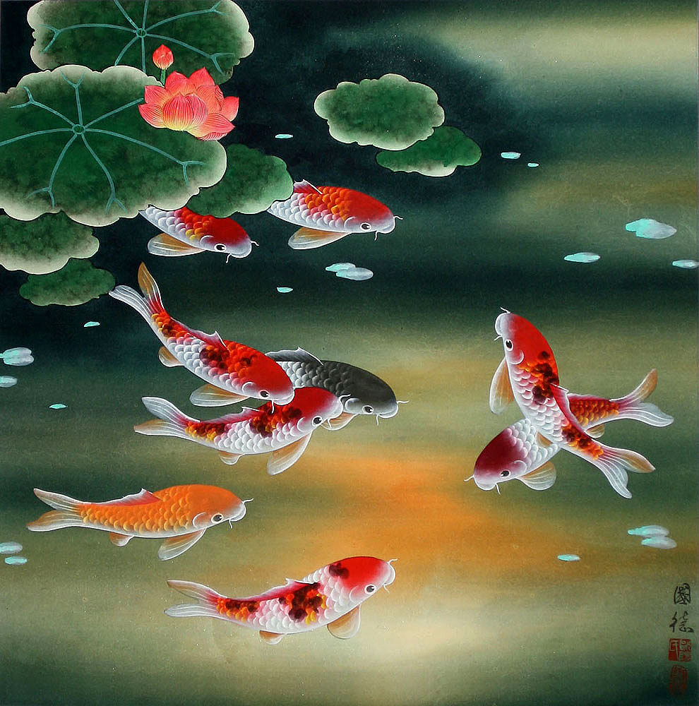 Nine koi fish and lotus flowers painting asian koi fish for Japanese koi fish painting