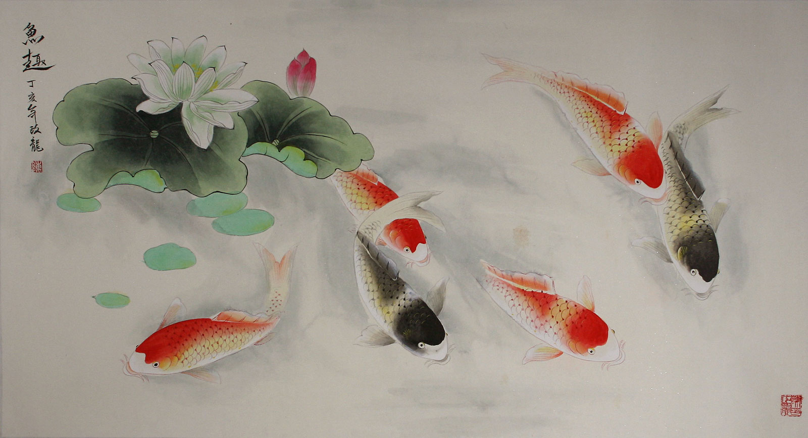 Chinese koi fish watercolor painting asian koi fish paintings wall scrolls chinese art for Chinese coy fish