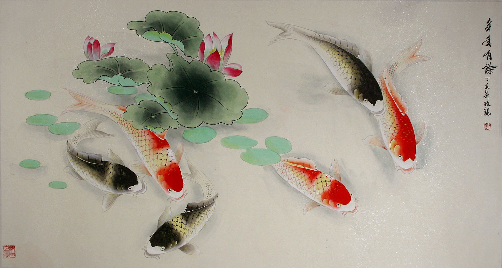 Chinese koi fish watercolor artwork asian koi fish paintings wall scrolls chinese artwork for Chinese coy fish