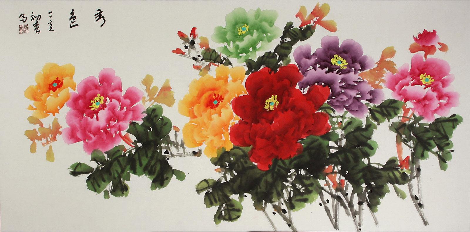 Peony Flower Painting Birds & Flowers Wall Scrolls & Painting