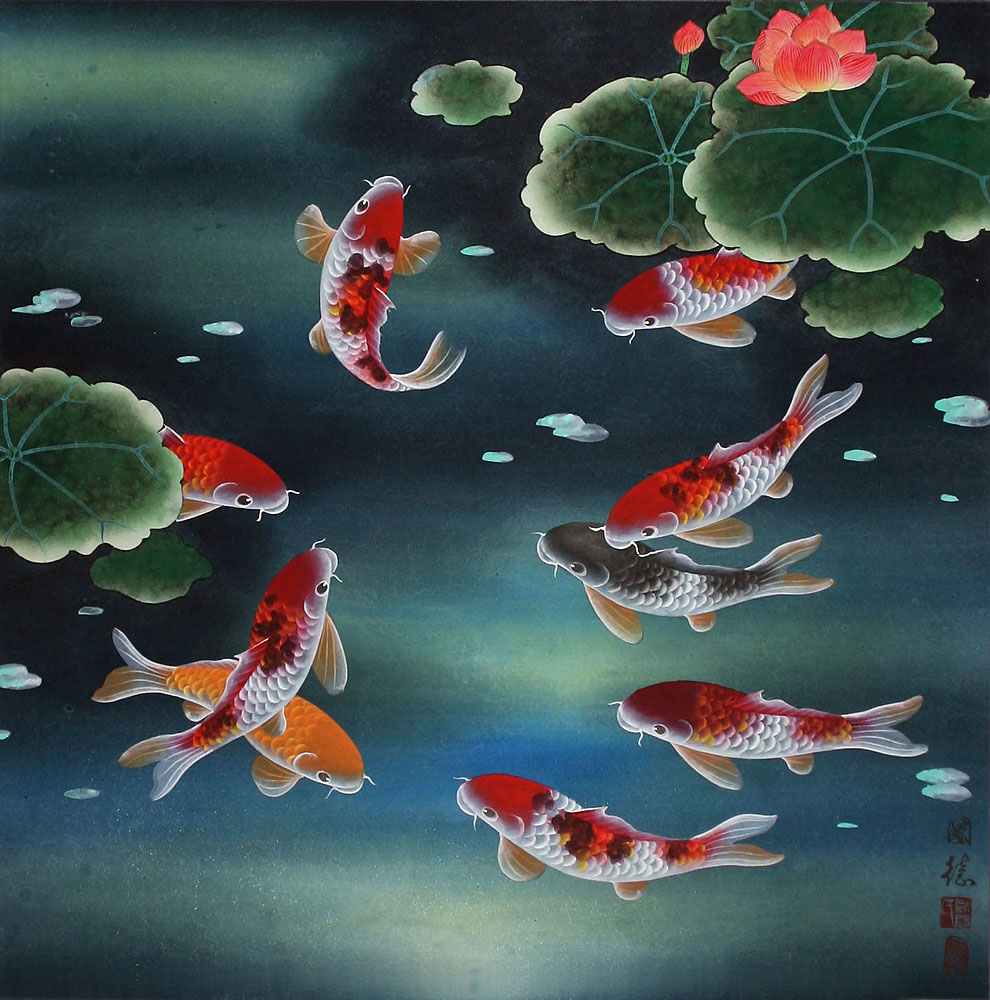 Nine koi fish and lotus flowers chinese painting asian koi fish paintings wall scrolls for Chinese coy fish
