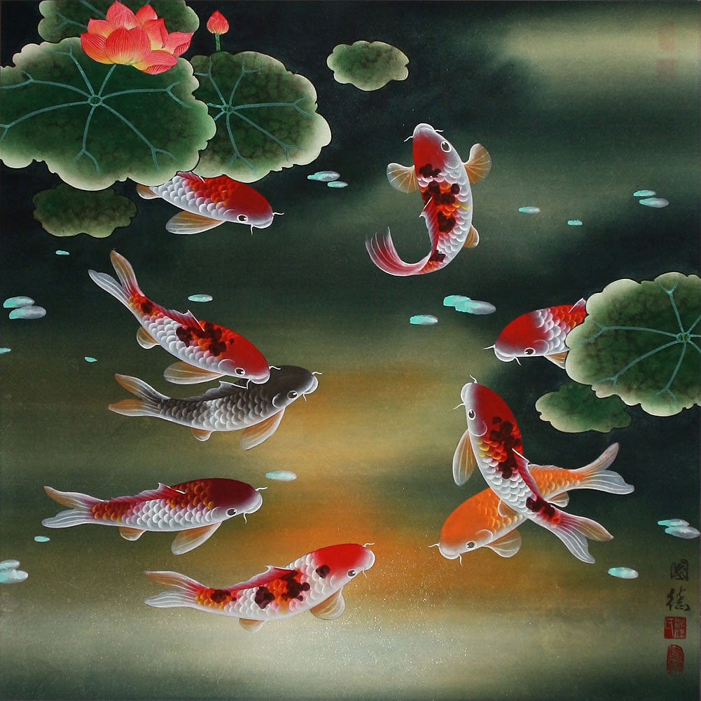 Nine koi fish and lotus flowers painting asian koi fish for Chinese koi fish painting