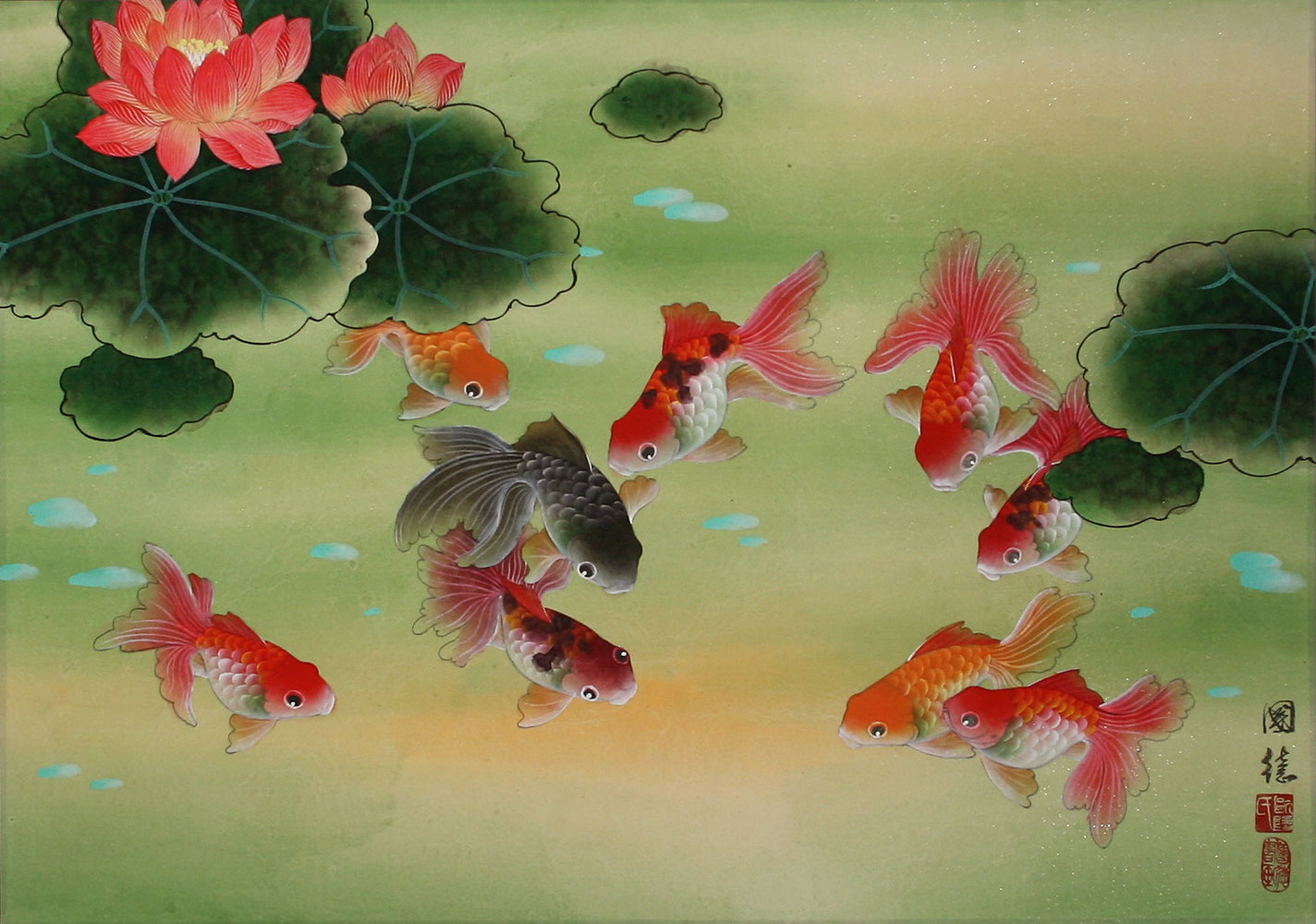 Goldfish lotus flowers painting asian koi fish paintings wall see huge image of this painting izmirmasajfo