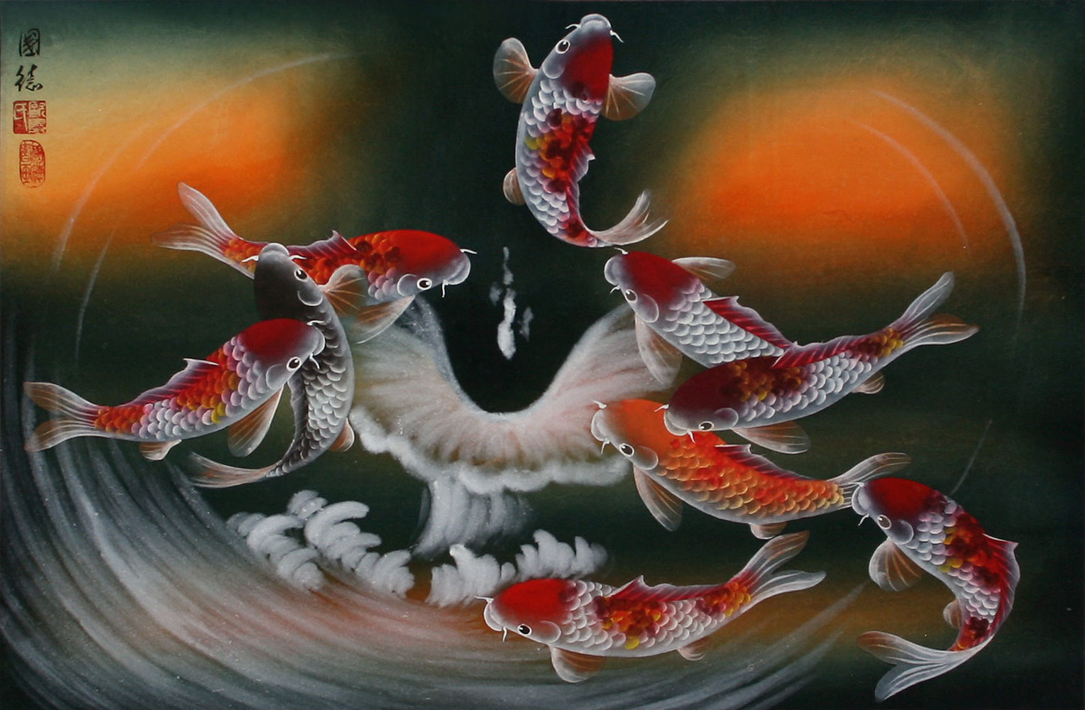 Nine koi fish masterpiece painting asian koi fish for Japanese fish painting