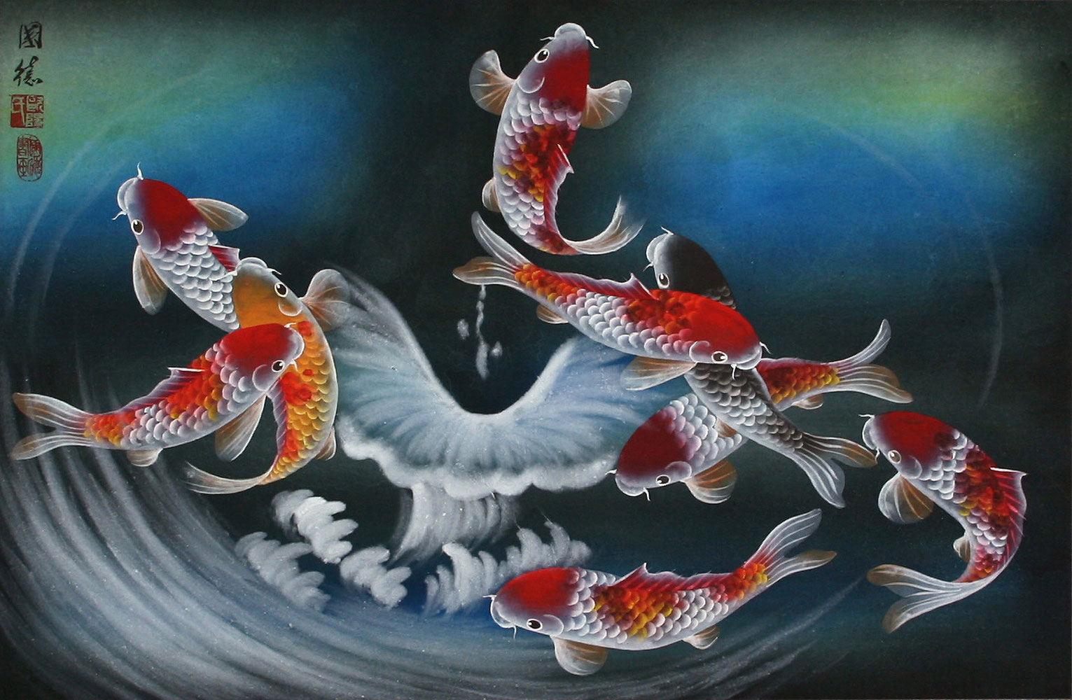 Nine koi fish blue dreams painting asian koi fish paintings wall scrolls chinese art for Chinese coy fish