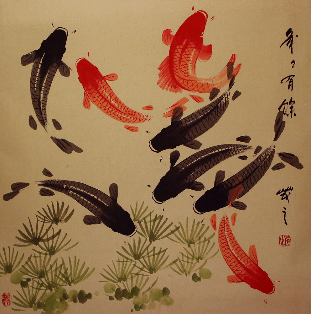 Large koi fish painting on antiqued chinese paper asian for Japanese coy fish art