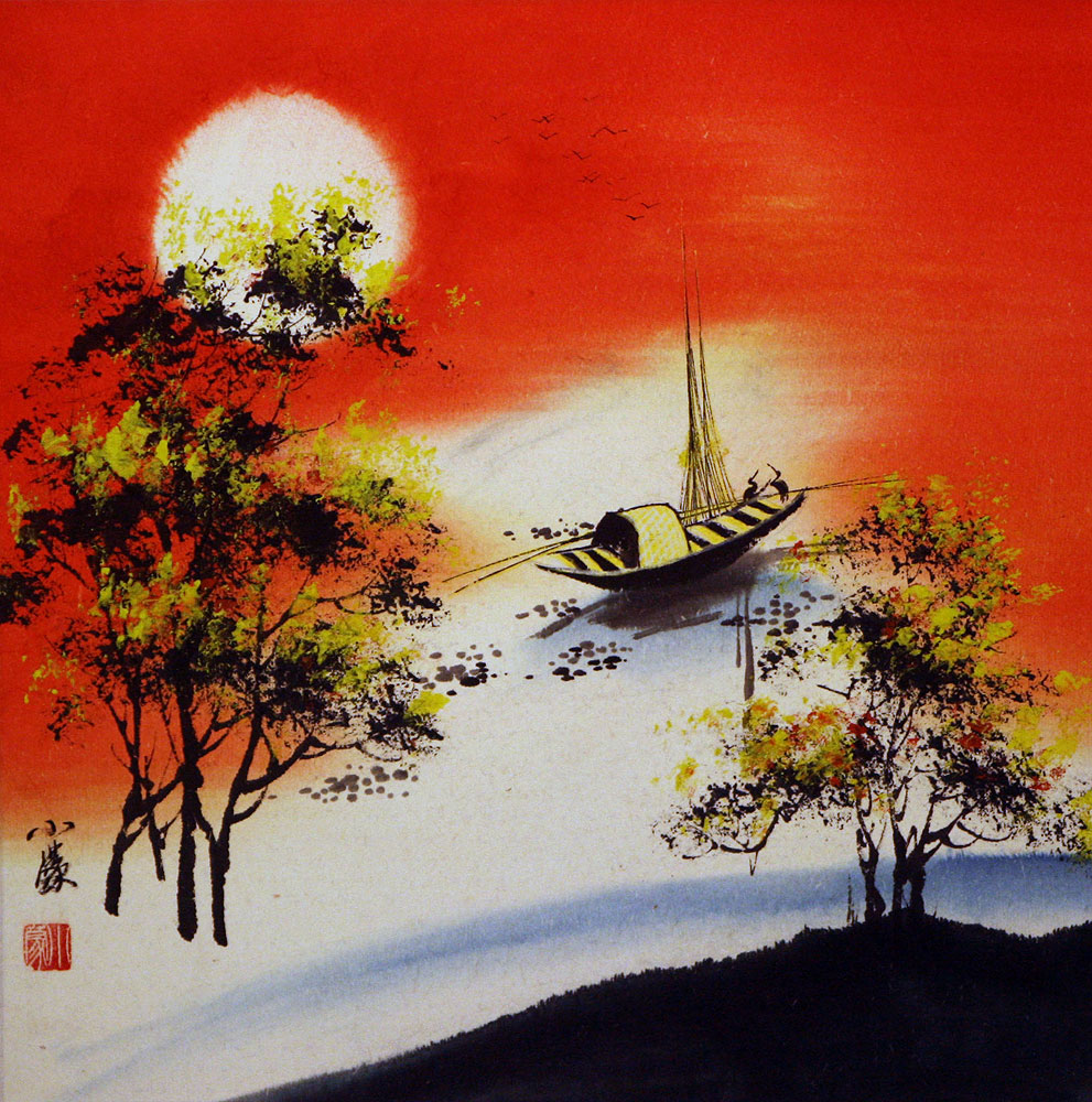 Resting birds 1 colorful asian art landscape painting for Chinese mural art