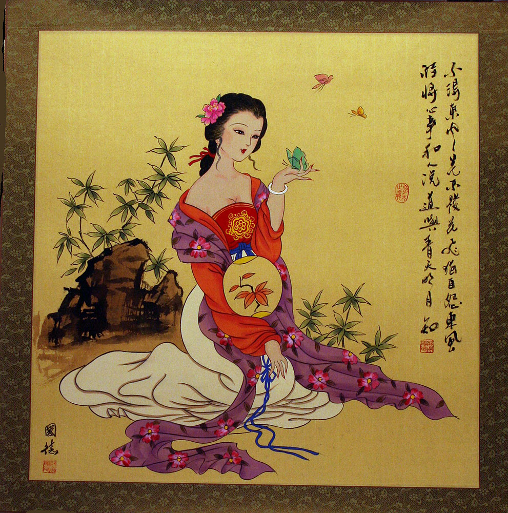 large antiquestyle chinese woman painting beautiful